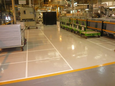warehouse floor epoxy coated by our team